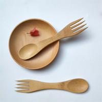 ingrosso set di cucchiaio per forchetta-Fork Spoon 2 in 1 stoviglie posate in legno bambù gelato cucchiaio forchetta per insalata per bambini utensili combo cucina esterna picnic posate set