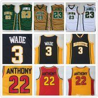 vadear baloncesto al por mayor-Mens St.Vincent Mary High School Irish # 23 LeBron James Jerseys 3 DW Wade # 22 Carmelo Anthony College Camiseta de baloncesto cosida