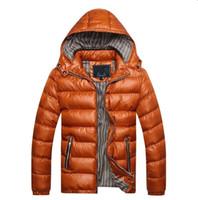 artı boyutu parkas toptan satış-Erkek Kış Ceket 2018 Kalınlaşmak Sıcak Kapüşonlu Ceket Erkekler 5 Renkler için Ince Parkas Rahat Kabarcık Ceket Artı Boyutu M-5XL