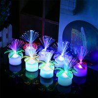 Wholesale flower electronics for sale - Group buy Gradual Variable Colorful Flower Optical Fiber Flower led Electronic Candle Swing Plate Night Lamp Origin and Source