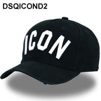 Wholesale men cap designs resale online - DSQICOND2 Cotton Baseball Caps ICON Logo DSQ Letters High Quality Cap Men Women Customer Design Hat Black Cap Dad Hats