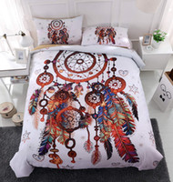 Wholesale modern 3d bedding set resale online - Thumbedding Unique Dreamcatcher Red Bedding Set for Double Bed Comfortable D Duvet Cover Animal Printed Decorative Bed Cover