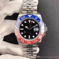 ringe dj großhandel-DJ neue rot blau Keramikring montre DE luxe 40mm Herrenuhr Antireflex konvexe Verstärkung 2836, mechanische Uhr