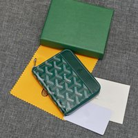 Wholesale leather zip wallet men for sale - Group buy Top Quality France Style Men Women Leather Key Bag fashion GY style short zip wallet compact coin purse card position elegant GOYA wallet