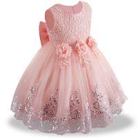 ingrosso vestiti da estate bianca della bambina-2019 estate infantile Baby Girl Dress pizzo bianco Battesimo Abiti per le ragazze 1 ° anno festa di compleanno abbigliamento bambino di nozze