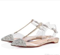 Wholesale sexy rhinestone t strap shoes resale online - Sexy Luxury Nosy Flat Pointed Toe Sandals Glitter Leather PVC Red Bottom Ladies Ankle T straps Women Ballerines Shoes Brand Dress EU35