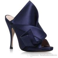 kravat partisi ayakkabıları toptan satış-Sarı Yeşil Kadınlar Yüksek Topuk Sandalet Büyük Papyon Düğün Tasarımcı Elbise Parti Ayakkabı Yaz Saten Stilettos Slaytlar Y ...