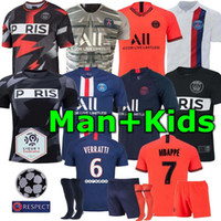 Wholesale kids soccer jerseys green for sale - Group buy 2019 PSG Adult and kids kit soccer Jerseys mbappe VERRATTI CAVANI DI MARIA MAILLOT DE FOOT child Paris kids football shirt kits