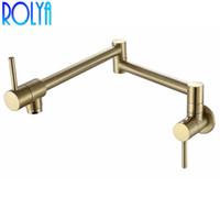 Rolya Brushed Golden Solid Brass Single Handle Extended Pot Filler Faucet Swing Spout Wall Mount Single Cold Kitchen Tap