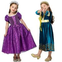 Wholesale kids princess velvet clothes resale online - Girls Princess Dress Lace Mesh Gold Velvet Winter Dress Kids Clothes Girls Halloween Cosplay Stage Performance Costume
