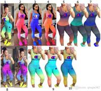 leggings de color degradado al por mayor-Gradient Color Champions Letter Chándal 2019 Mujeres sin mangas Traje Tank Chaleco + Medias Leggings Pantalones Ropa deportiva de verano Joggers Set