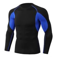 siyah uzun tişörtü toptan satış-Yaz T Gömlek Erkekler Patchwork Uzun Kollu O Boyun Siyah Tasarımcı T-Shirt Sıska Tee S-3XL Tops