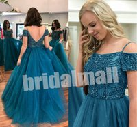 Wholesale evening gown plus size teal resale online - Teal Blue Ball Gown Prom Dresses Beaded Pearls Tulle Long Evening Gowns Sexy Backless Plus Size Formal Party Dress Vestido de fiesta