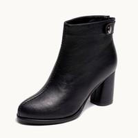botas de tornozelo preta à prova d'água quente venda por atacado-Sapatos de inverno curto quente de pele preto robusto bloco booties faux mulheres ankle boots dedo do pé redondo à prova d 'água de salto alto moda