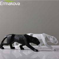 statues à la maison achat en gros de-Ermakova Leopard Statue Grande Taille Moderne Abstrait Géométrique Style Résine Sculpture Sculpture Animal Figurine Home Office Decor Y19062704