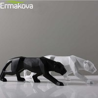 Wholesale leopard statues for sale - Group buy Ermakova Leopard Statue Large Size Modern Abstract Geometric Style Resin Panther Sculpture Animal Figurine Home Office Decor Y19062704