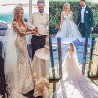 Discount black white curve dress Curved mermaid beach wedding dresses with detachable train 2020 lace applique illusion long sleeve garden arabic wedding gown