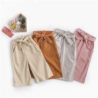kano geniş bacak pantolon toptan satış-INS Kızlar Kadife Yay Geniş Bacak Pantolon Güz Çocuklar Butik Giyim Kore Moda 1-6 T Küçük Kızlar Katı Renk 3/4 Uzunluk Pantolon