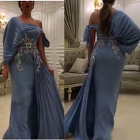 impresionantes vestidos de noche faja al por mayor-Aturde 2020 un hombro apliques de noche de la sirena vestidos de encaje plisado con los marcos árabe Dubai Prom Vestidos más el tamaño de vestido de fiesta