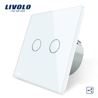 ingrosso vetro interruttore a parete-Livolo Standard EU Touch Switch, 2 Gang 2 Way Control, 3 colori Crystal Glass Panel, Wall Light Switch