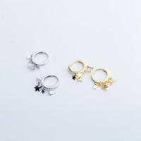 pendientes clásicos vintage al por mayor-Moda 925 pendientes de plata esterlina Clásico Cute Little Stars Drop Ear Hebilla Pendientes Vintage Ear Bone Hoop para mujeres