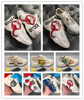 Wholesale strawberry shoe resale online - Mens Rhyton Vintage Sneaker with Strawberry wave mouth Tiger Web Mouth Lip Print NY Yankeesprint Vintage Trainer women Designer Shoes