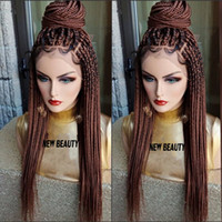 Wholesale green ombre braiding hair resale online - brown Box Braids Wig with baby hair full braid wig lace front For Women Africa women style braiding synthetic hair wig