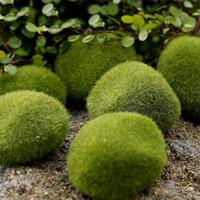 ingrosso green moss-20 pz artificiale verde muschio palla finta pietra simulazione impianto diy decorazione per la finestra del negozio hotel home office pianta decorazione della parete