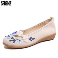 женские безделушки оптовых-Plus Size 35-42 Woman Cotton Fabric Causal Breathable Shoes Ethnic Ladies Wedge Student Chaussure Femme Cingham Mother Loafers
