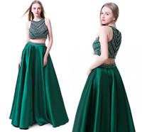 saias verde oliva venda por atacado-Custom Made Off The Shoulder verde escuro frisados 2 Pieces Prom Dresses 2019 até o chão Prom vestido de festa Moda Vestidos