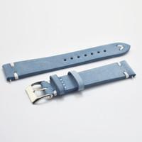синие браслеты оптовых-Новые часы браслет ремень синий / темно-синий ремешки из натуральной кожи ремешок смотреть band 18 мм 20 мм 22 мм аксессуары wristban
