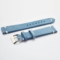 dunkelblaue armbänder großhandel-Neue Uhr Armband Gürtel blau / dunkelblau Uhrenarmbänder aus echtem Lederarmband 18mm 20mm 22mm Zubehör Armband