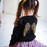 chaqueta de alas de angel al por mayor-Chaqueta del resorte del otoño Nuevo bebé de la niña vestido de Negro Sweet Girl de punto chaqueta de punto Niños suéter bordado del ala del ángel