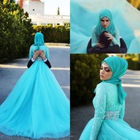 Wholesale custom scarves for sale - Modest Lace Long Sleeves Muslim Wedding Dresses with Scarf Zipper Back Rhinestone Sash Vestidos De Novia Sweep Tulle Arabic Wedding Gowns