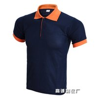 camisas estilo polo naranja al por mayor-2019 Top Men Polo Shirt Hombres de negocios Casual Solid Summer Style Polos Manga corta Camisa sólida Blusa Navy Orange Plus Size 3xl SH190808