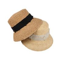 Wholesale adult straw floppy hats for sale - Woman Ribbon Straw Sun Hat Causal Bowknot Floppy Bucket Sunshade Straw Hats Outdoor Wide Brim Travel Beach Cap LJJT615