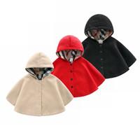 bebek kızları katlar toptan satış-Perakende Bebek Kız Kış yün rüzgar geçirmez kaşmir Pelerinler Dış Giyim Çocuk cehennem sıcak şal eşarp panço Çocuk Mont Ceket Giyim Giysi