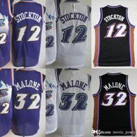 Wholesale men basketball uniforms for sale - Group buy Uta Basketball John Stockton Jerseys Men Purple White Color Karl Malone Jersey Vintage Uniforms All Stitched High Quality