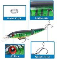 köder schwimmender vmc haken groihandel-Lurebay Minnow Gelenkköder 9g 105mm 0.5-1.5M 2 Sektionen Minnow Schwimmfischköder VMC Hooks Hard Fishing Lure