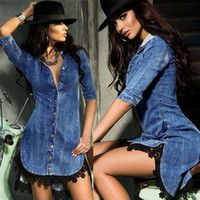 denim blusa mujer al por mayor-Marca de diseño blusa de las mujeres calientes de la blusa denim con cuello en V de cinco puntos de encaje irregular de la manga de vestir ropa de mujer S-XXL