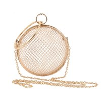 Wholesale round nude balls for sale - Group buy 2019 Hollow Metal Ball women shoulder bag gold Cages Round Clutch Evening Ladies Luxury Wedding Party CrossBody Purse handbag SH190918