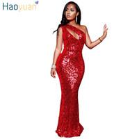 ingrosso vestito di spalla lungo lungo del sequin rosso-HAOYUAN Shiny Sequin Party Dress Abbigliamento donna 2019 New Red One Shoulder Night Club Abiti sexy Vestito aderente lungo Maxi Dress
