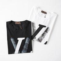 мужская футболка нового стиля оптовых-Лето Новое прибытие моды письмо печати Men T Shirt Высокое качество футболки Хлопок мужские с коротким рукавом Причинная Homme Топы Tee Tshirt