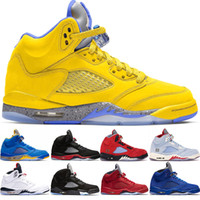 ingrosso ghiaccio d'aria-Nike Air Jordan 5 Retro 5s Ice Blue Mens Designer Scarpe da basket 5 Bred Laney Blu Rosso in pelle scamosciata Fresh Prince Trainer Sport Sneakers 41-47 all'ingrosso