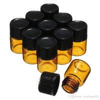 viales de perfume de muestra vacíos 1ml al por mayor-10 Unidades / Lote 1 ML Ámbar Mini Brwon Vidrio Portátil Muestra Vial Aceite Esencial Vacío Con Orificio Reductor Cap Para Perfume