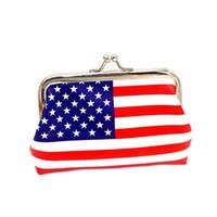 ingrosso bandiera portafogli-2019 American Flag Coin Purse Donna Lady Fresh Flag Piccolo portafoglio Hasp borsa pochette Mini Wallet piccole donne