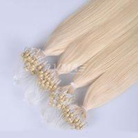 Wholesale unprocessed peruvian hair pack resale online - Micro Loop Ring Hair Extensions Unprocessed Virgin Peruvian Human Hair Silky Straight Micro Loops g Strand Strands pack