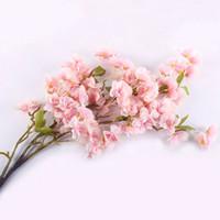 sakura zubehör großhandel-Umweltfreundlich Kunstseide Sakura Kirsche Flores Blossom Oriental Kirsche Dekoration Hochzeit Hotel Room Party-Zubehör-Silk Blumen