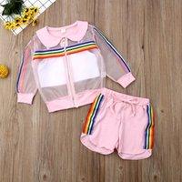 bebés traje de arco iris al por mayor-2019 Niños Ropa de verano Niños pequeños Niños Bebé Niña Malla Abrigo + Chaleco + Pantalones Traje 3 piezas Traje de sol Conjunto de rayas de colores del arco iris