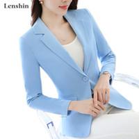 ingrosso usura delle signore-Lenshin colore della caramella Professional Business Jacket per le donne Work Wear Office Lady elegante femmina Blazer Coat New Top Y191101